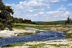 Fly-fishing YellowstoneFly fisherman Nez-Perce Creek, Yellowstone National Park