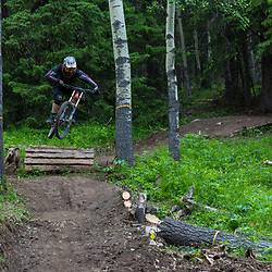 Jerome Pageau riding his trail Jean Guy on the Rocks at Moose Mountain in Alberta Canada