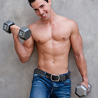 Fit guy holding weights