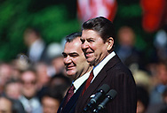 President Ronald Reagan and President De La Madrid of Mexico at an arrival ceremony on May 15, 1984<br />Photo by Dennis Brack