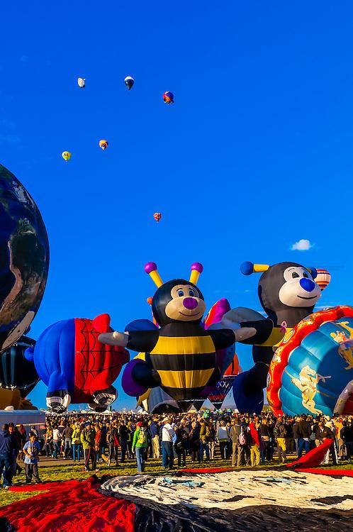 Special shape balloons (Little Bee Lilly, Little Bee Joey), Albuquerque International Balloon Fiesta, Albuquerque, New Mexico USA.