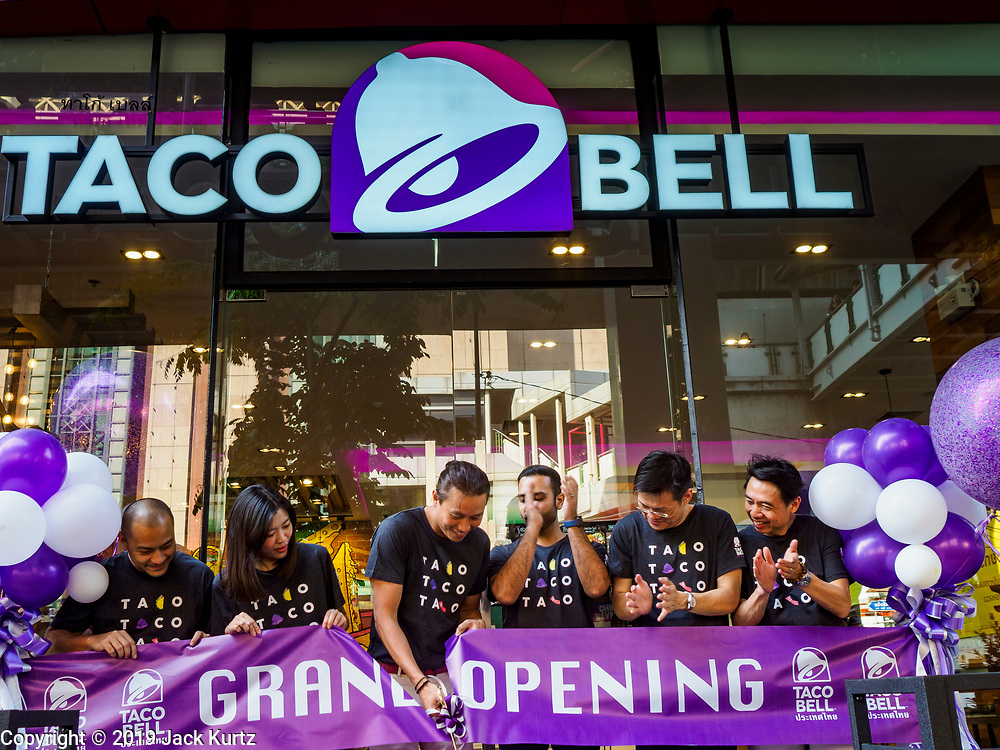 24 JANUARY 2019 - BANGKOK, THAILAND:  The grand opening of the first Taco Bell in Thailand. The restaurant has a 215 square meter space in the Mercury Ville, a mixed use retail/office building in central Bangkok. Taco Bell is owned by Yum Brands, which also owns KFC, Pizza Hut, and WingStreet. Taco Bell in Thailand joins KFC, which has more than 500 restaurants in Thailand and Pizza Hut, which recently started expanding in Thailand.      PHOTO BY JACK KURTZ