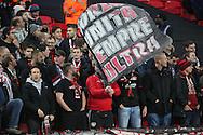 Bayer Leverkusen fans during the Champions League match between Tottenham Hotspur and Bayer Leverkusen at Wembley Stadium, London, England on 2 November 2016. Photo by Matthew Redman.