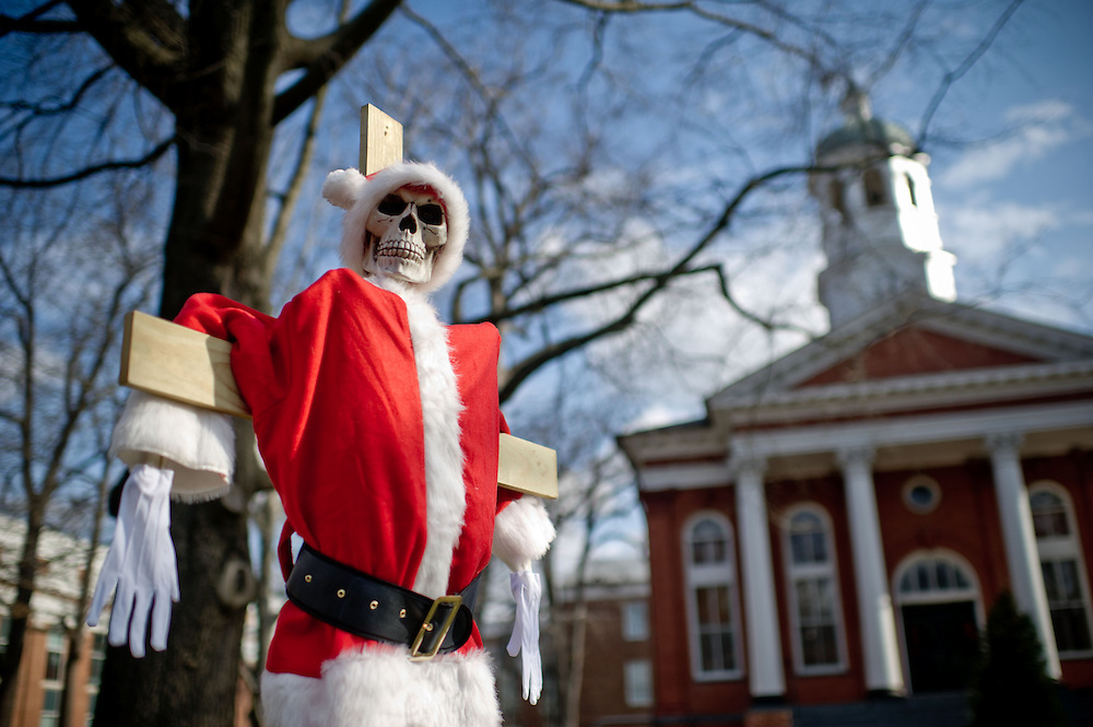A skeleton dressed as Santa Claus on a crucifix is on display at the Loudoun County courthouse  on Sunday, December 18th, 2011 in Leesburg, Va.  (Photo by Jay Westcott for The Daily)