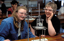 A Level Chemistry students doing experiment; Huddersfield Technical College; UK