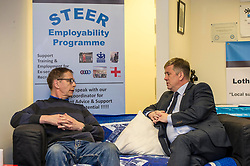 EMBARGOED UNTIL 00:01 2 APRIL 2017<br /> <br /> Pictured: Gordon Bell, ex-Private in the Royal Scots chatting to Mr Brown on the help provided by the fund<br /> During his visit to the Lothians Veteran Centre in Dalkeith on Friday 31 March, Veterans Secretary Keith Brown  announced the successful applicants to the 2017 Scottish Veterans Fund.<br /> The Lothians Veteran Centre provides a person-centred support service for ex-service personnel and their families across Lothians, including projects relating to housing, benefits & welfare, and employment, education and training support.<br /> <br /> Ger Harley | EEm 31 March 2017