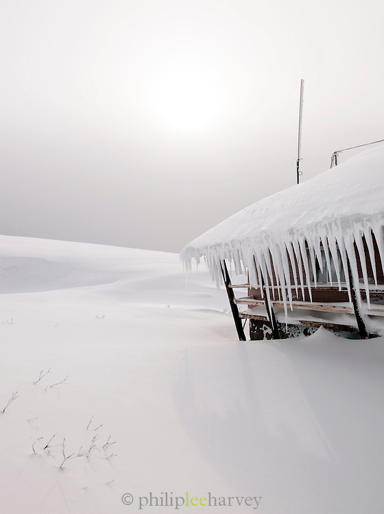 Icicles formed on the roof of a hut in Daisetsuzan National Park, Hokkaid?, Japan