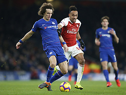 BRITAIN-LONDON-FOOTBALL-PREMIER LEAGUE-ARSENAL VS CHELSEA.(190120) -- LONDON, Jan. 20, 2019  Chelsea's David Luiz (L) is challenged by Arsenal's Pierre-Emerick Aubameyang  during the English Premier League match between Arsenal and Chelsea at the Emirates Stadium in London, Britain on Jan. 19, 2019. Arsenal won 2-0.  FOR EDITORIAL USE ONLY. NOT FOR SALE FOR MARKETING OR ADVERTISING CAMPAIGNS. NO USE WITH UNAUTHORIZED AUDIO, VIDEO, DATA, FIXTURE LISTS, CLUB/LEAGUE LOGOS OR ''LIVE'' SERVICES. ONLINE IN-MATCH USE LIMITED TO 45 IMAGES, NO VIDEO EMULATION. NO USE IN BETTING, GAMES OR SINGLE CLUB/LEAGUE/PLAYER PUBLICATIONS. (Credit Image: © Matthew Impey/Xinhua via ZUMA Wire)