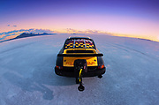 Image of a black 1975 Porsche 911 streamliner getting ready to race at the Bonneville Salt Flats, World of Speed 2014, Utah, American Southwest by Randy Wells
