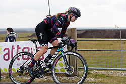 Alexis Ryan crests the VAMberg at Drentse 8 van Westerveld 2018 - a 142 km road race on March 9, 2018, in Dwingeloo, Netherlands. (Photo by Sean Robinson/Velofocus.com)