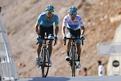 February 17, 2018 - Muscat, Oman - LUTSENKO Alexey  (KAZ)  of Astana Pro Team - LOPEZ MORENO Miguel Angel  (COL)  of Astana Pro Team during stage 5 of the 9th edition of the 2018 Tour of Oman cycling race, a stage of 152 kms between Sama'il and Jabal Al Akhdhar (Green Mountain) on February 17, 2018 in Muscat, Sultanate Of Oman, 17/02/2018 (Credit Image: © Panoramic via ZUMA Press)