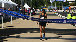 November 13, 2016 - Athens, Greece - First Greek female athelte to finish the 2016 Athens Marathon the authentic is Ourania Rebouli,.50.000 long range runners take part in the 42 killometers long Athens Marathon the Authentic in Greece starting from the City of Marathona and ending at Kalimarmaro Stadium in Athens. (Credit Image: © George Panagakis/Pacific Press via ZUMA Wire)