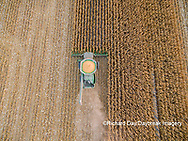 63801-08611 Corn Harvest, John Deere combine harvesting corn - aerial Marion Co. IL