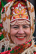 Moscow, Russia, 13/03/2005..A Russian woman in traditional costume waits for the beginning of the annual Maslentisa parade.