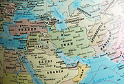 Middle East map on a globe focused on Iran, Turkmenistan, Afghanistan
