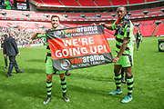 Forest Green Rovers Christian Doidge(9) and Forest Green Rovers Shamir Mullings(18) during the Vanarama National League Play Off Final match between Tranmere Rovers and Forest Green Rovers at Wembley Stadium, London, England on 14 May 2017. Photo by Shane Healey.
