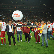 Galatasaray's coach Fatih Terim (3ndL) celebrate victory during their Turkish Super League soccer match Galatasaray between Sivasspor at the AliSamiYen Spor Kompleksi TT Arena at Seyrantepe in Istanbul Turkey on Sunday 05 May 2013. Photo by TURKPIX