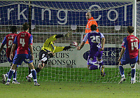Dagenham & Redbridge vs Rochdale Coca-Cola League 2 21/11/09<br /> Pic Nicky Hayes/News of the World<br /> Craig Dawson scores Rochdale's winning goal.