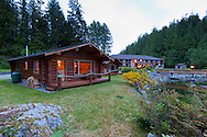Eagle Nook Wilderness Resort and Spa is located on a remote area of Vancouver Island.   There are lodge rooms available, but the resort also offers individual private cabins that face the water.
