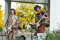 The Michael Vincent Band kicks off the Summer Outdoor Concert series at the Belknap Mill with Michael Vincent, Dan Mack and Dan Hewitt performing at Laconia's Rotary Park Wednesday evening.  (Karen Bobotas/for the Laconia Daily Sun)