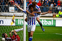 Fotball<br /> Nederland<br /> Foto: ProShots/Digitalsport<br /> NORWAY ONLY<br /> <br /> sc heerenveen - ajax , play off eredivisie seizoen 2007-2008 , 01-05-2008 gerald sibon met christian grindheim . stekelenburg baalt