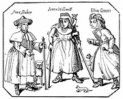 Anne Baker, Joanne Willimott and Ellen Greene, Leicestershire women with their pets and familiars. Associates of the Witches of Belvoir. Condemned to be burnt 1619: England. Engraving.