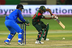 September 21, 2018 - Dubai, United Arab Emirates - Bangladesh cricketer Mehidy Hasan Miraz plays a shot during the 1st cricket match of the Super four group  of Asia Cup 2018 between India and Bangaldesh at Dubai International cricket stadium,Dubai, United Arab Emirates. 09-21-2018  (Credit Image: © Tharaka Basnayaka/NurPhoto/ZUMA Press)