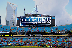 CHARLOTTE, USA - Sunday, July 22, 2018: A warning on the stadium's giant screen for supporters to leave the stadium due to approaching bad weather during a preseason International Champions Cup match between Borussia Dortmund and Liverpool FC at the  Bank of America Stadium. (Pic by David Rawcliffe/Propaganda)