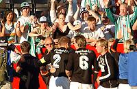 Fotball, NM Rosenborg - Hønefoss 30.06.06 1-2<br /> Supportere og lag jubler for hverandre<br /> Foto: Carl-Erik Eriksson, Digitalsport