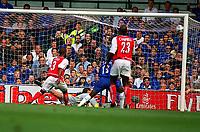 Fotball. Premier League. 01.09.2002.<br /> Chelsea v Arsenal.<br /> Gianfranco Zola gjør 1-0 til Chelsea.<br /> Foto: Andrew Cowie, Digitalsport