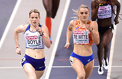 Great Britain's Eilidh Doyle and Netherland's Lisanne De Witte running in heat 7 of the Women's 400m during day one of the European Indoor Athletics Championships at the Emirates Arena, Glasgow.