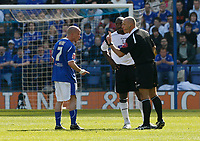 Photo: Steve Bond.<br />Leicester City v Derby County. Coca Cola Championship. 06/04/2007. Iain Hume is warned by referee Howard Webb