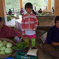 Asia, Bhutan, Trongsa. Local market scene at Trongsa.