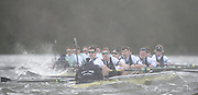 Putney - Chiswick, London,  Great Britain.<br /> Oxford, Crew, Bow: George McKirdy, 2: James White, 3: Morgan Gerlak,  4: Joshua Bugajski, 5: Leo Carrington, 6: Jørgen Tveit, 7: Jamie Cook, Stroke: Nik Hazel and Cox: Sam Collier. working their way through the rough water by Chiswick Eyot.<br /> 2016 University Boat Race, Oxford vs Cambridge, Putney. Putney  to Mortlake, Championship Course. River Thames.<br /> <br /> Sunday  27/03/2016 <br /> <br /> [Mandatory Credit; Peter SPURRIER/Intersport-images]