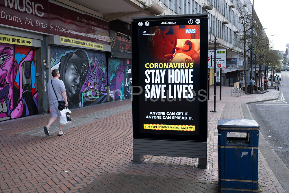 HM Government, and NHS advertising boards advice to stay at home and help save lives on Smallbrook Queensway in the city centre as people observe the stay at home advice from the government on 7th April 2020 in Birmingham, England, United Kingdom. Coronavirus or Covid-19 is a new respiratory illness that has not previously been seen in humans. While much or Europe has been placed into lockdown, the UK government has announced more stringent rules as part of their long term strategy, and in particular social distancing.