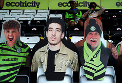 A cardboard cut out of Hector Bellerin of Arsenal pictured centre has become the second largest share holder in league two of Forest Green Rovers - Mandatory by-line: Nizaam Jones/JMP - 19/09/2020 - FOOTBALL - New Lawn Stadium - Nailsworth, England - Forest Green Rovers v Bradford City - Sky Bet League Two