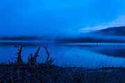 Twilight, Grasses, Stump, Mist Patterns, Round Valley Lake Near Greenville, Plumas County, California Beaches, Sierra Nevada Mountains, copyright 2014 by David Leland Hyde.