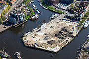 Nederland, Overijssel, Zwolle, 01-05-2013; Schuttevaerhaven en Kraanbolwerk. Kaalslag en sloop, behoudens gevelwand van historisch gebouw.<br /> Clearcutting and demolition, except façade of the historic building.<br /> luchtfoto (toeslag op standaardtarieven);<br /> aerial photo (additional fee required);<br /> copyright foto/photo Siebe Swart.