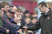 Twickenham. Surrey, UK., 23 February 2002, Zurich Premiership Rugby,  The Stoop Memorial Ground, During the, NEC Harlequins vs Gloucester Rugby,<br /> Phillippe St Andre shakes hands with the Gloucester fans,[Mandatory Credit: Peter Spurrier/Intersport Images],