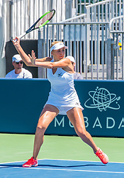 August 5, 2018 - San Jose, CA, U.S. - SAN JOSE, CA - AUGUST 05: Lyudmyla Kichenok (UKR) sets for a forward hit during the WTA Doubles Championship match at the Mubadala Silicon Valley Classic on the San Jose State University Stadium Court in San Jose, CA  on Sunday, August 5, 2018. (Photo by Douglas Stringer/Icon Sportswire) (Credit Image: © Douglas Stringer/Icon SMI via ZUMA Press)