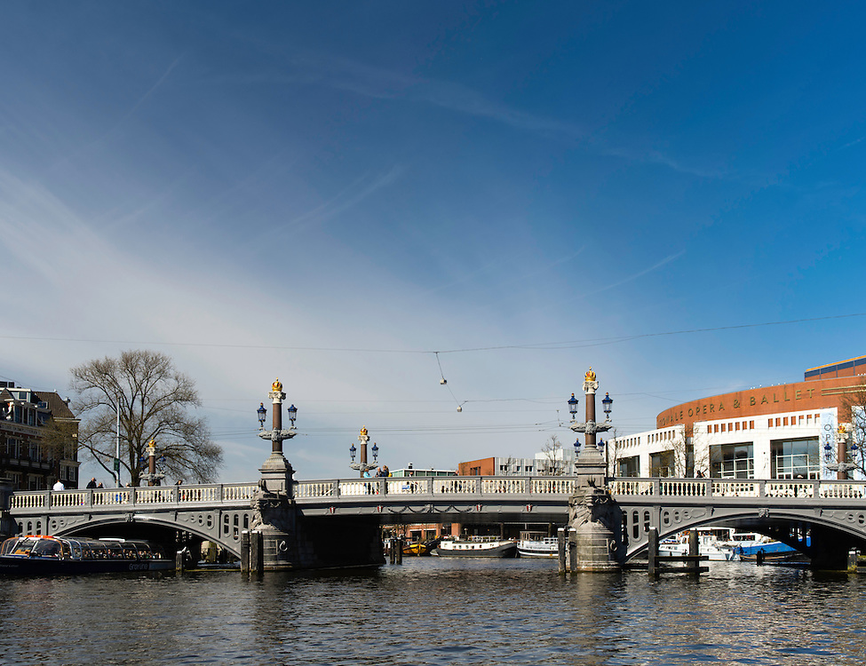 """A view of Amsterdam's famous Blauwbrug or """"Blue Bridge"""""""