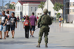 July 29, 2017 - Rio De Janeiro, Brazil - Rio de Janeiro, Brazil, July 29, 2017. Approximately 10,000 military personnel from the Navy, Army and Air Force were called in to strengthen security in Rio de Janeiro after the state completely lost control of public safety and reached alarming levels of crime. The military will do policing on expressways, favelas and tourist spots in the city. In this image: Military patrols in the Center of Rio carrying rifles and using amphibious war vehicles. (Credit Image: © Luiz Souza/NurPhoto via ZUMA Press)