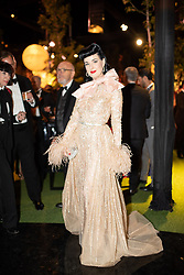Dita Von Teese seen at Elie Saab Jr (Fashion designer Elie Saab's son) and Christina Mourad wedding, in Faqra, Lebanon on July 19, 2019. The wedding is among the most incredible weddings of 2019, included four wedding outfits, over a million sequins and 1,200 guest. Photo by Balkis Press/ABACAPRESS.COM