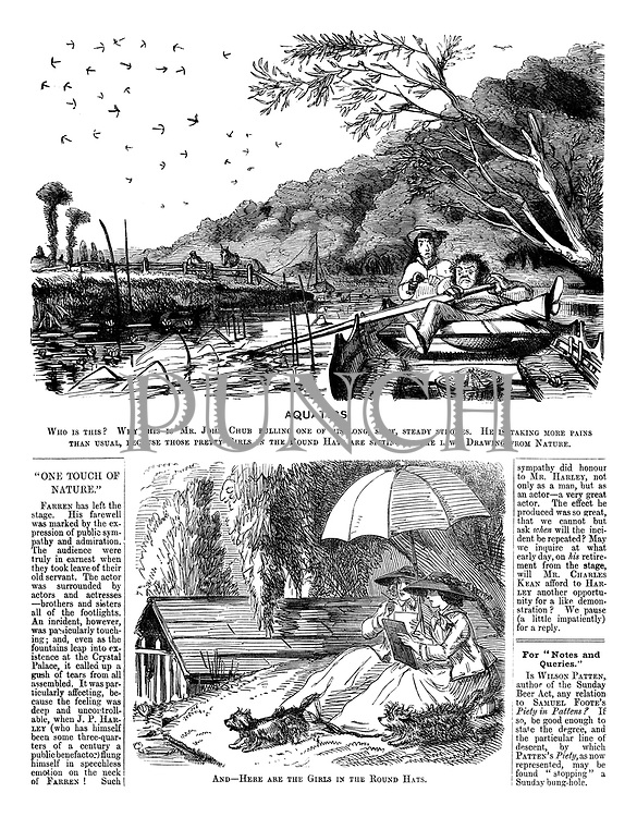 Aquatics. Who is this? Why this is Mr John Chub pulling one of his long, slow, steady strokes, He is taking more pains than usual, because those pretty girls in the round hats are sitting on the lawn drawing from nature.--And--here are the girls in the round hats.