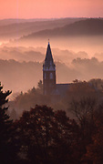 Autumn Mountain Vista, Early AM Fog, Church Steeple, Brookville, Jefferson County,  PA