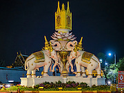 09 JUNE 2016 - BANGKOK, THAILAND:  A statue of royal battle elephants in front of the Grand Palace. Thailand marked 70 years of the reign of Bhumibol Adulyadej, the King of Thailand, with a special alms giving ceremony for 770 monks in front of the Grand Palace in Bangkok. The King, also known as Rama IX, ascended the throne on 9 June 1946. He is the longest serving monarch in Thai history and the longest serving monarch in the world today. He is revered by most Thais and is widely seen as a unifying figure in the country.    PHOTO BY JACK KURTZ