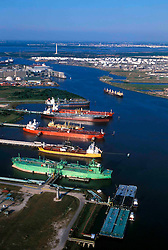 Aerial of Oil Tankers and Lightering Operations at Port of Houston with San Jacinto Monument