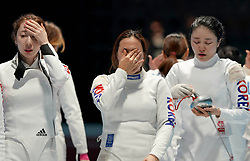 JAKARTA, Aug. 24, 2018  Players of South Korea react as they lose the Women's Epee Team final in the 18th Asian Games in Jakarta, Indonesia, Aug. 24, 2018. (Credit Image: © Wangyuguo/Xinhua via ZUMA Wire)