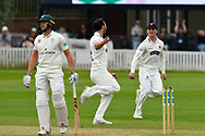 Wicket - Lewis Gregory of Somerset celebrates taking the wicket of Joe Clarke of Worcestershire with Tom Abell of Somerset during the Specsavers County Champ Div 1 match between Somerset County Cricket Club and Worcestershire County Cricket Club at the Cooper Associates County Ground, Taunton, United Kingdom on 22 April 2018. Picture by Graham Hunt.