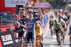 Celebrations for Jolien D'hoore (Wiggle High5) at Madrid Challenge by La Vuelta an 87km road race in Madrid, Spain on 11th September 2016.